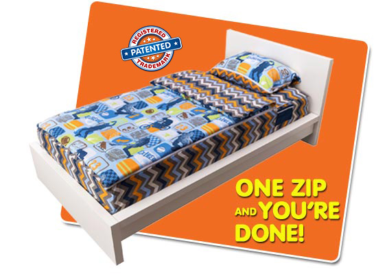 Works like a sleeping bag you just zipit fun fast and easy